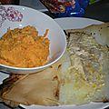 Dos de <b>colin</b> à la moutarde en papillote, et patate douce à la crème