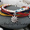 Total liberty : Fin ! Enfin, pour aujourd'hui ! Avec ce <b>bracelet</b> multicolore d'été en cordon liberty, cuir, et daim et ses brelo