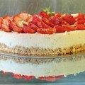 Faux cheesecake, vrai délice aux fraises et citron vert