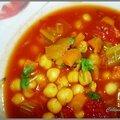 Soupe de pois chiches tomates et safran