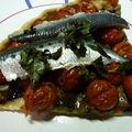 Tarte aux tomates cerises et aux sardines marinées