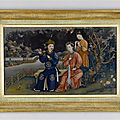 A late 18th century chinese export mirror painting, ca 1780