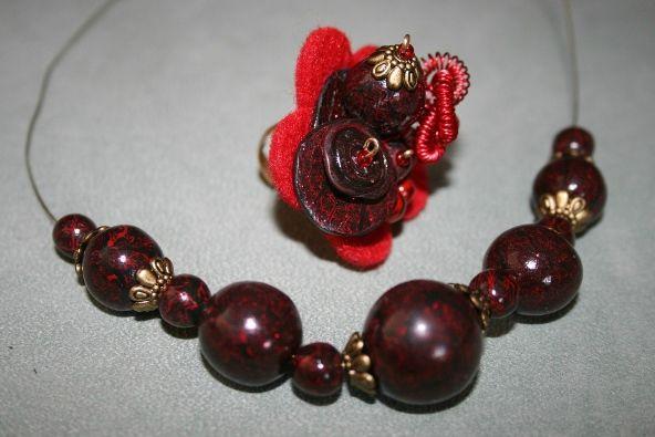 parure (8) perles rouges