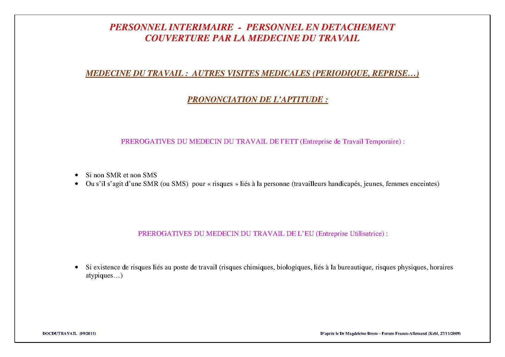 Personnel en Détachement - Intérimaire (Visite Périodique, de Reprise)