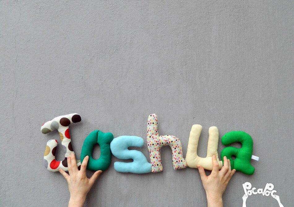 joshua,mot en tissu,mot decoratif,cadeau de naissance,decoration chambre d'enfant,cadeau personnalise,cadeau original,poc a poc blog