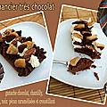 Financier très chocolat : financier choco noisette , ganache chocolat 70%, chantilly mascaspone, croustillant & poire