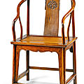 A <b>huanghuali</b> horseshoe-backed chair, quanyi, 17th-early 18th century