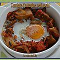<b>Cassolette</b> d'aubergines et oeuf au nid
