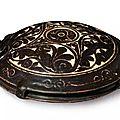 A rare Cizhou-type cut-glaze tortoise-shaped (guixing) canteen, China, Xixia Kingdom or Jin-Yuan dynasty, late <b>12th</b>-<b>13th</b> <b>century</b>
