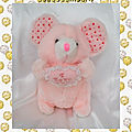 Doudou Peluche Souris Assis Rose Coeur I Love You <b>CP</b>