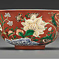 An imperial famille verte <b>coral</b>-<b>ground</b> bowl, Yongzheng four-character yuzhi mark and of the period (1723-1735)