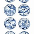 Eight small blue and white dishes, Chongzhen period, circa <b>1643</b>