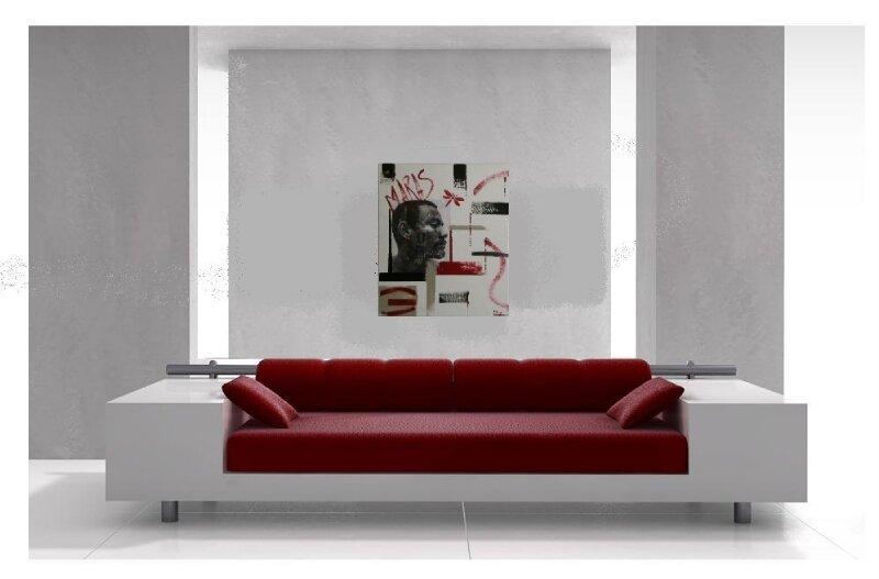 Tableau contemporain rouge blanc noir gris: