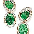 Pair of 18 karat gold, platinum, jadeite, diamond and ruby pendant-earclips, david webb