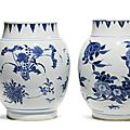 Two blue and white 'Seed pod' jars, circa <b>1640</b>