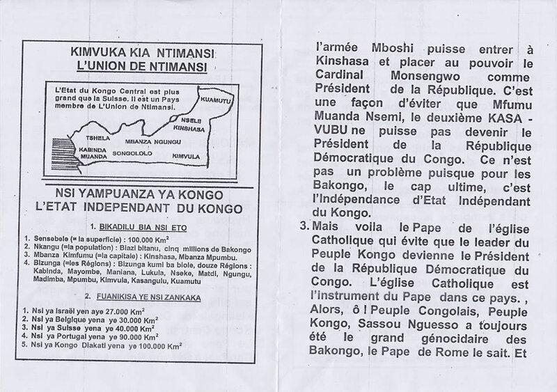 LE PAPE DE ROME ET LE SANG DU PEUPLE CONGOLAIS b