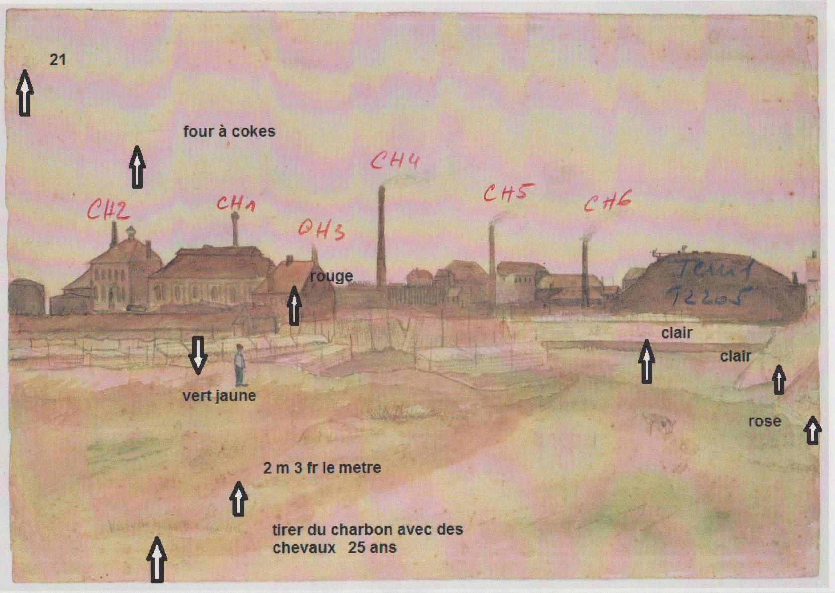 Aquarelle Van Gogh Flénu 2 - original avec notes