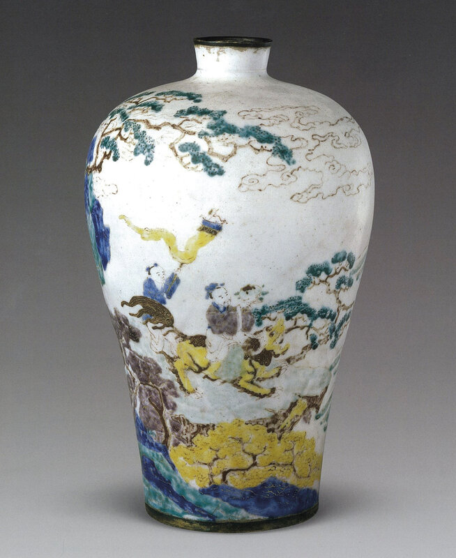 A Beijing enamelled 'Immortals in a landscape' vase, meiping, early Qing period, Beijing Palace Museum
