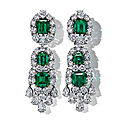 A pair of colombian emerald and diamond earrings, by van cleef & arpels