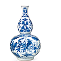 A blue and white double-gourd vase, china, transitional period, 17th century