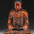 A gilt-lacquered figure of <b>Guanyin</b>, Ming dynasty (1368-1644)
