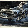 Pablo picasso, crâne de chèvre sur la table (goat's skull on the table), 1953