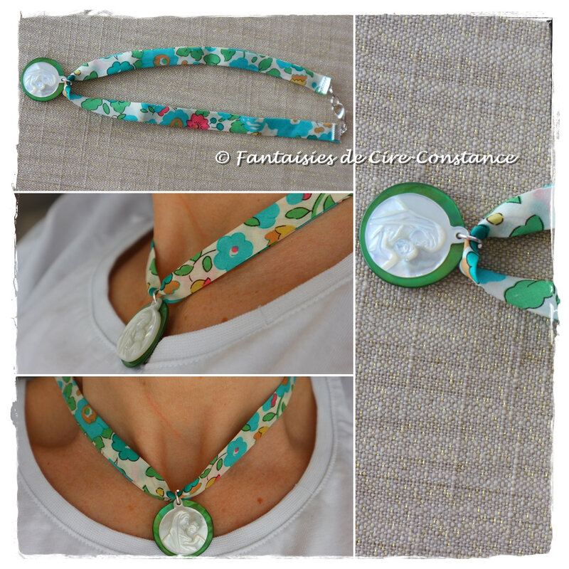 Collier Vierge nacre Betsy vert
