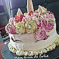 Layer cake fraises citron licorne