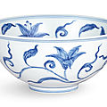 A superbly painted blue and white 'day lily' palace bowl, Mark and period of Chenghua (1464-1487)