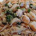 Pâtes aux crevettes-basilic