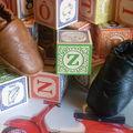 Chaussons cuir * modèle vintage noir