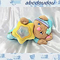 Doudou Peluche Ours Musical Veilleuse Multicolore 2001 Fisher Price <b>30</b> <b>cm</b>