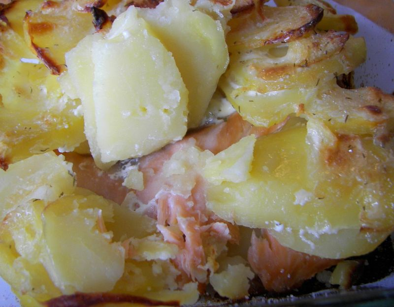 *Gratin de pommes de terre et saumon fumé