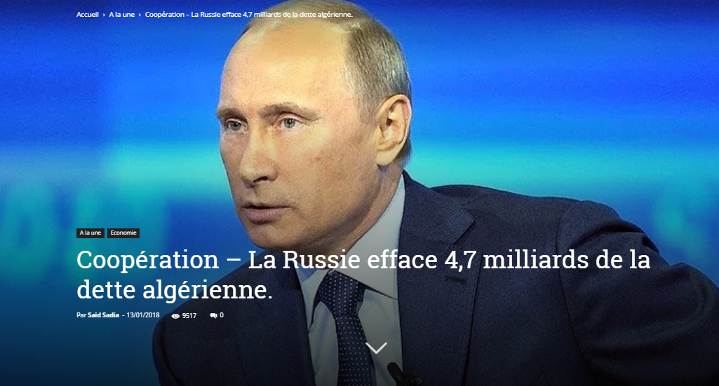 Coopération – La Russie efface 4,7 milliards de la dette algérienne.