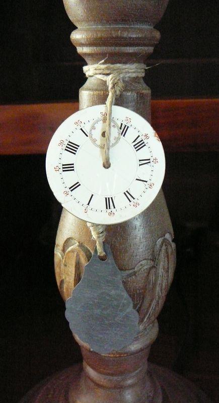 Déco lampe pampille zinc et cadran émaillé