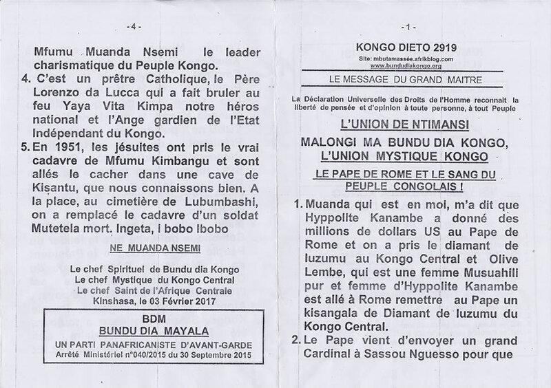 LE PAPE DE ROME ET LE SANG DU PEUPLE CONGOLAIS a
