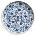 A chinese blue and white ming style saucer dish. 18th century