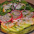 Fruits & fish salad, haddock, pitaya, granny smith and baby spinash