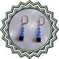 Boucles d'oreilles pyrio bleues