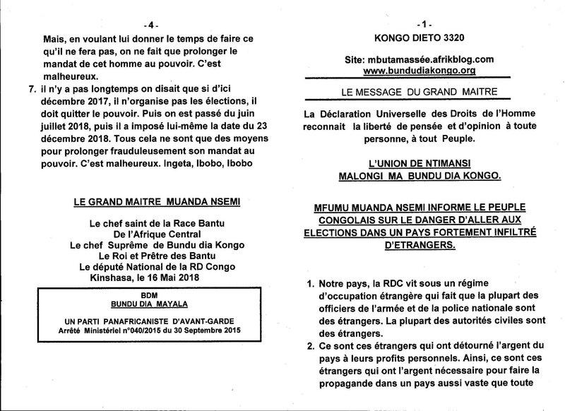 MFUMU MUANDA NSEMI INFORME LE PEUPLE CONGOLAIS SUR LE DANGER D'ALLER AUX ELECTIONS DANS UN PAYS FORTEMENT INFILTRE D'ETRANGERS a