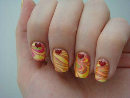 Nail art Water Marble multicolor