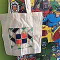 Tote bag géométrique ou l'emballage ecolo