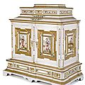 An exquisite Baroque parcel-gilt and polychrome painted ivory, ebony and rosewood