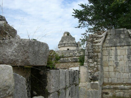Chichen Itza - View of El Caracol from the Temple of Wall Panels