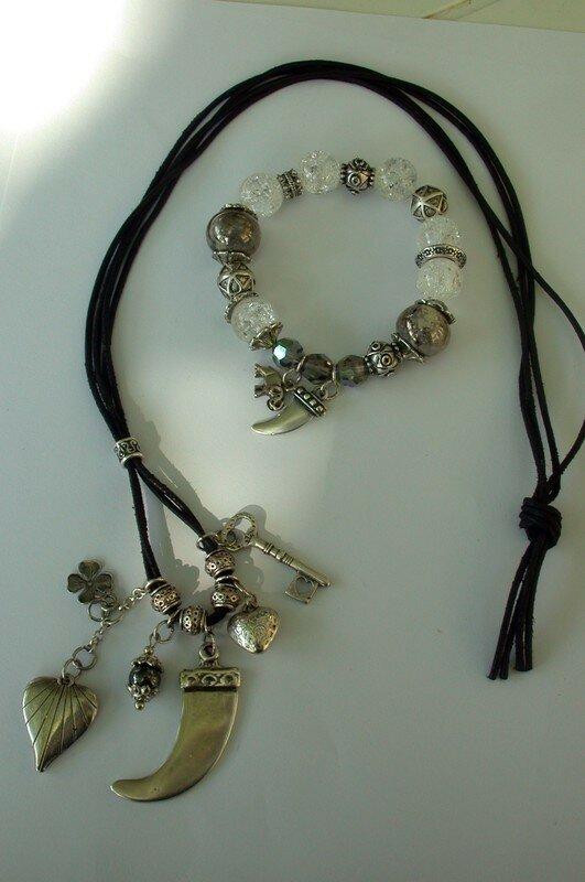 cordon cuir et bra (swaro, cristal roche, métal...)