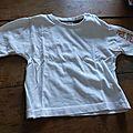 T-shirt m.<b>longues</b> bébé garçon 12 mois blanc 0.50€