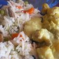 Curry de lotte et son riz aux petits légumes