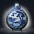 A magnificent blue and white moonflask, qianlong six-character seal mark in underglaze blue and of the period (1736-1795)