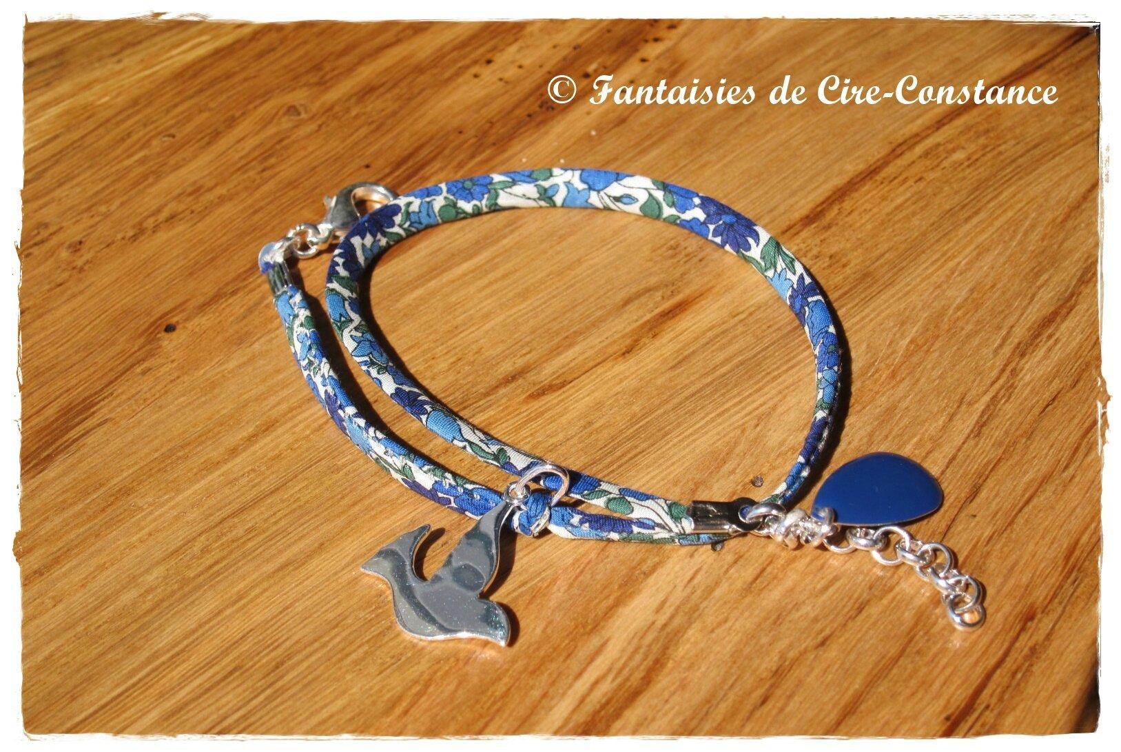 Bracelet Colombe argent pleine double tour