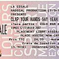 Clap Your Hands Say Yeah / Cold War Kids / <b>Elvis</b> Perkins - Lundi 12 Février 2007 - La Cigale (Paris)